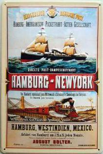 Kaiserlich Deutsche Post Hamburg-New York Blechschild - Vorschau