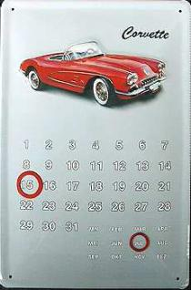 Corvette Kalender Blechschild - Vorschau