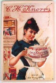 Knorr Dame mit Terrine Blechschild