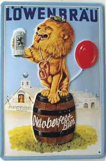 Löwenbräu Oktoberfest-Bier Löwe Blechschild