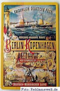 Kaiserlich Deutsche Post Berlin-Kopenhagen Blechschild - Vorschau