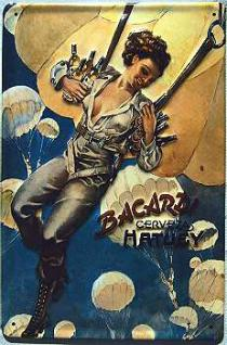 Bacardi Fallschirmspringerin Blechschild - Vorschau