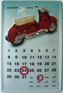 Zündapp Bella Kalender Blechschild - Vorschau