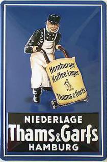 Hamburger Kaffee-Lager Thams & Garfs Blechschild