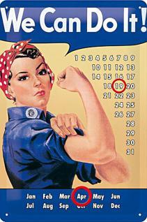 We Can Do It Kalender Blechschild - Vorschau