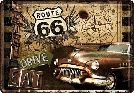 Blechpostkarte Route 66 Road Trip