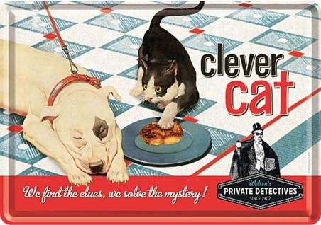 Blechpostkarte Clever Cat