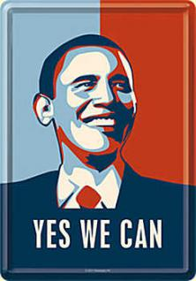 Blechpostkarte Obama - Yes We Can