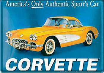Blechpostkarte Corvette, gelb