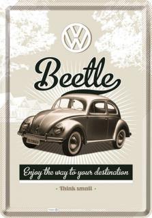 Blechpostkarte VW - Retro Beetle