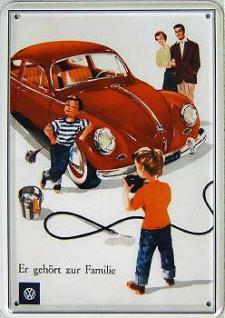 Blechpostkarte VW er gehört zur Familie - Vorschau