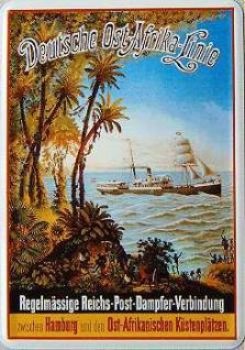 Blechpostkarte Deutsche Ost-Afrika-Linie Palmen - Vorschau