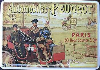 Blechpostkarte Automobiles Peugeot