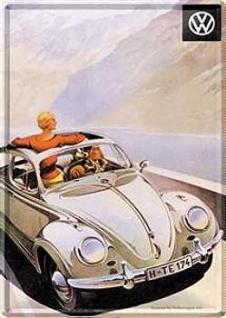 Blechpostkarte VW Käfer Cabriolet