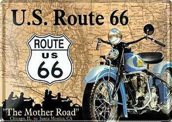 Blechpostkarte Route 66 Motorrad - Vorschau