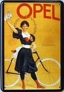 Blechpostkarte Opel die Siegerin