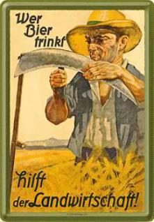 Blechpostkarte Wer Bier trinkt hilft der Landwirts