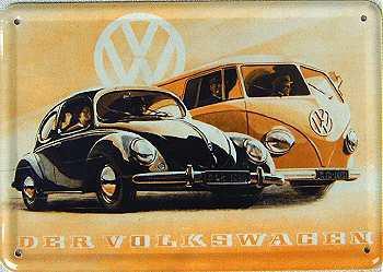 Blechpostkarte VW der Volkswagen
