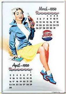 Blechpostkarte Pepsi Cola Kalender Girl