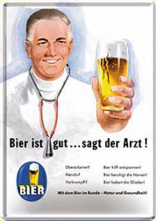 Blechpostkarte Bier ist gut