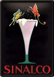 Blechpostkarte Sinalco Glas
