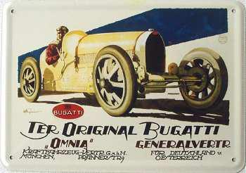 Blechpostkarte Bugatti original - Vorschau