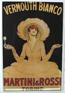 Blechpostkarte Martini weiss