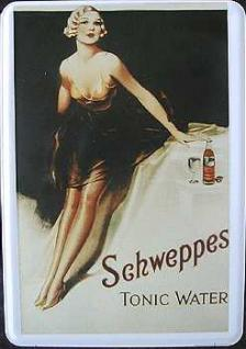 Blechpostkarte Schweppes Tonic Water