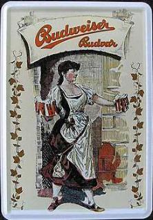 Blechpostkarte Budweiser weiss