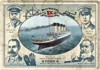 Blechpostkarte Titanic Mannschaft - Vorschau