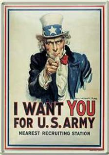Blechpostkarte I Want You...For US Army
