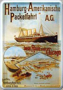 Blechpostkarte Hamburg Amerikanische Packetfahrt