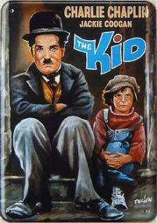 Blechpostkarte Charlie Chaplin The Kid - Vorschau