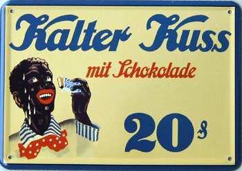 Blechpostkarte Kalter Kuss mit Schokolade - Vorschau