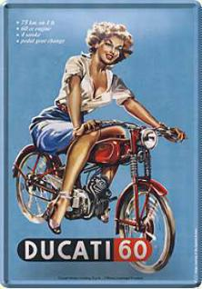Blechpostkarte Ducati Pin Up Girl