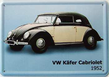 blechpostkarte vw k fer cabriolet 1952 kaufen bei. Black Bedroom Furniture Sets. Home Design Ideas