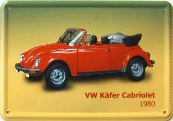 Blechpostkarte VW Käfer Cabriolet 1980 - Vorschau