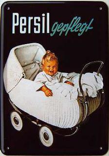 Blechpostkarte Persil Baby im Kinderwagen - Vorschau