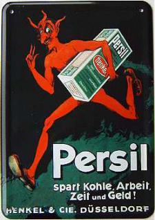 Blechpostkarte Persil Teufel