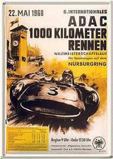 Blechpostkarte ADAC 1000 km Rennen Nürburgring - Vorschau