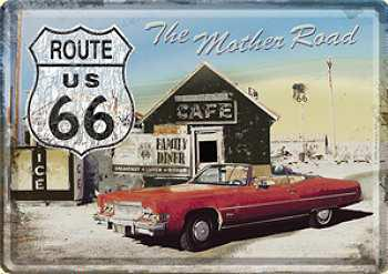 Blechpostkarte Route 66 - The Mother Road (Auto)