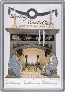 Blechpostkarte Waiting for Santa Claus - Vorschau