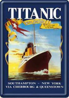 Blechpostkarte Titanic dunkelblau - Vorschau