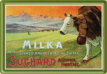 Blechpostkarte Milka Kuhweide