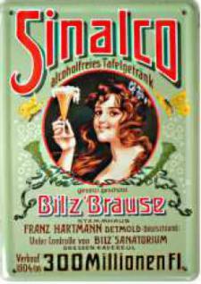 Blechpostkarte Sinalco Bilz Brause