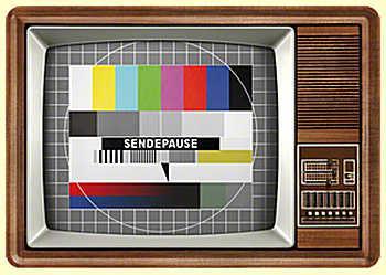 Blechpostkarte Retro TV (Sendepause) - Vorschau