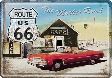 Blechpostkarte Route 66 - The Mother Road (Auto) - Vorschau