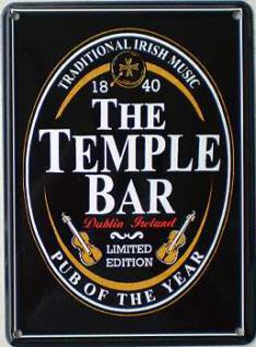 The Temple Bar schwarz Mini Blechschild - Vorschau