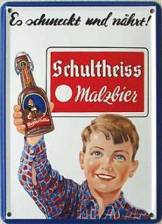 Schultheiss Malzbier Mini Blechschild mit Magnet