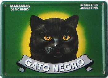 Gato Negro Mancanas Mini Blechschild